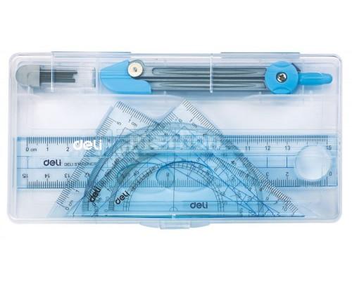 Готовальня 5 предметов Deli E9609 в комплекте:линейка 15см, 2 треугол.,транспортир, циркуль